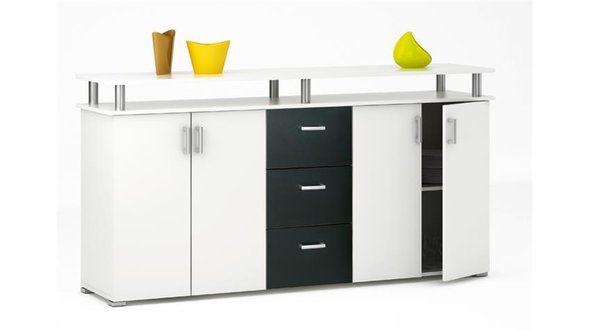 Sideboard SWIFT Perle weiß und schwarz Dekor 4-türig