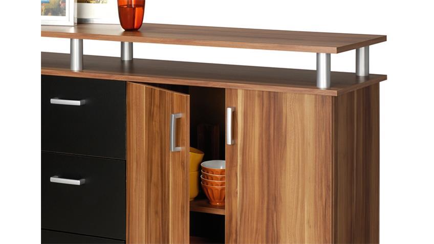 Sideboard SWIFT Merano Kernnuss und schwarz 4-türig