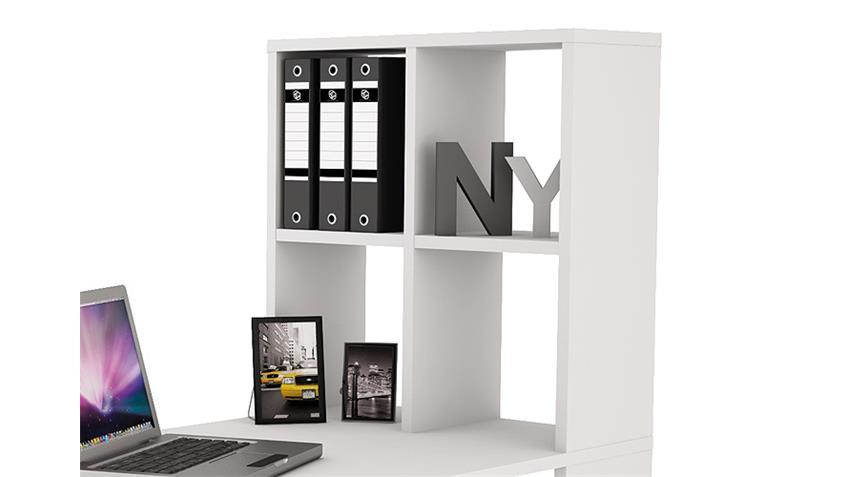 Schreibtisch LEXINGTON mit Regal in weiß