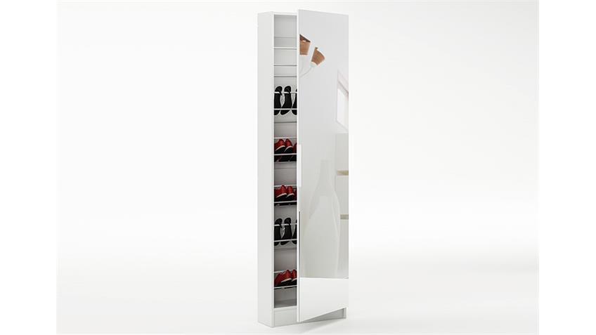 schuhschrank zapatero garderobenschrank in wei mit spiegelt r. Black Bedroom Furniture Sets. Home Design Ideas