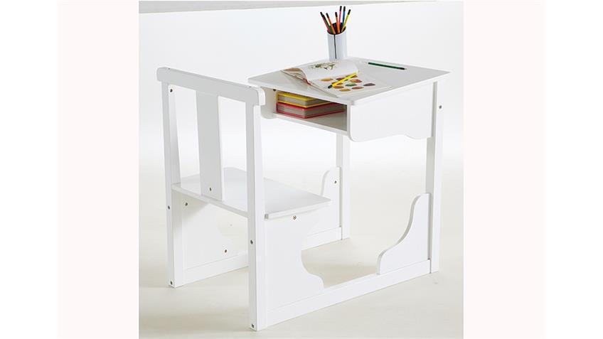 Schulschreibtisch SCOLA Kinderpult Schreibtisch weiß Dekor