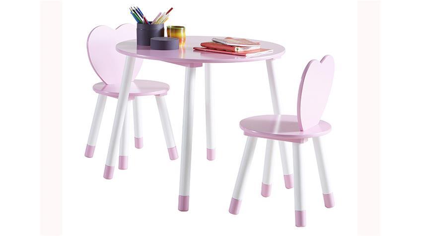 Kinderset Tischset PRINCESS Weiß und Rosa