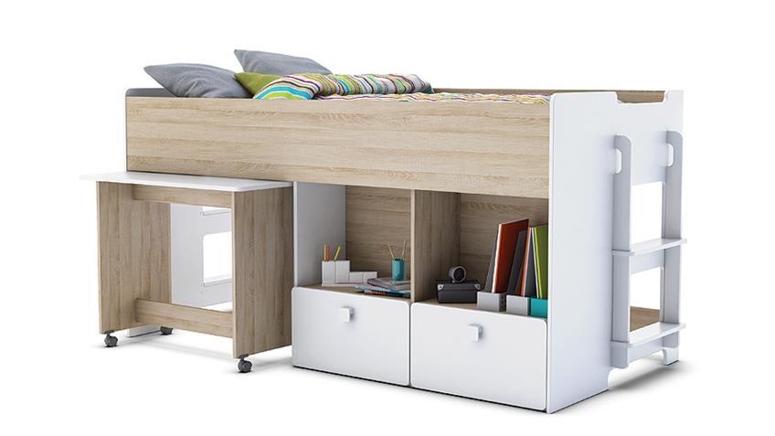 kombi bett game hochbett in wei und akazie 90x190 cm. Black Bedroom Furniture Sets. Home Design Ideas