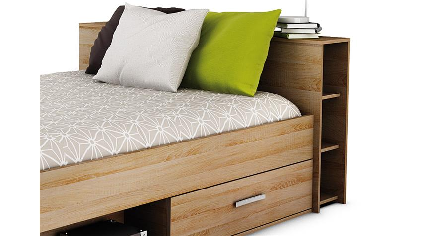 bett pocket sonoma eiche 140x200 cm mit schubk sten. Black Bedroom Furniture Sets. Home Design Ideas