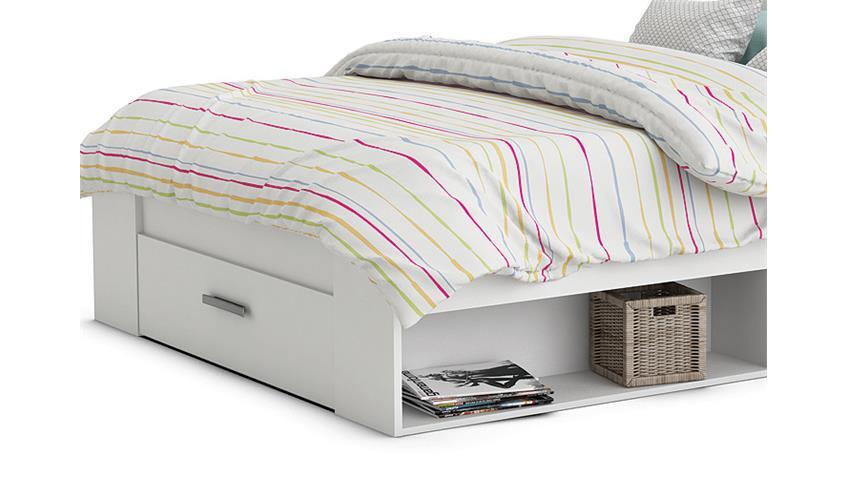 Bett POCKET Einzelbett in Perle weiß Dekor 140x200 cm