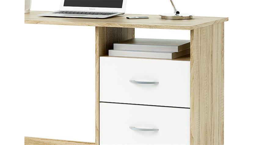 schreibtisch aristote computertisch sonoma eiche wei. Black Bedroom Furniture Sets. Home Design Ideas