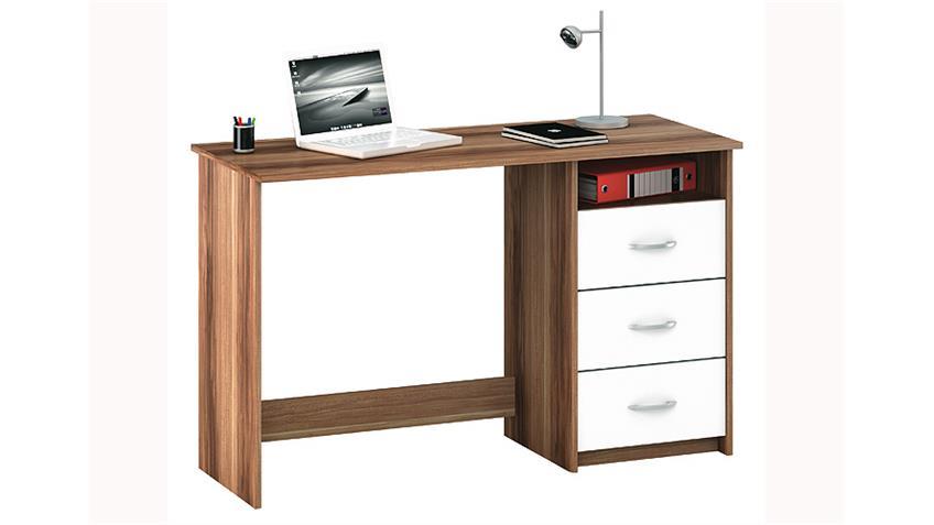 Schreibtisch ARISTOTE Computertisch in Kernnuss und weiß