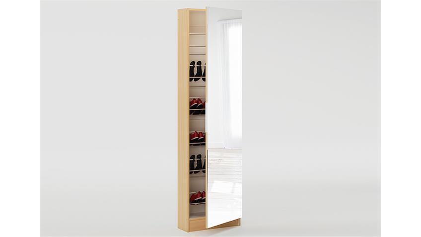 Schuhschrank ZAPATERO Schrank in Buche Dekor mit Spiegeltür