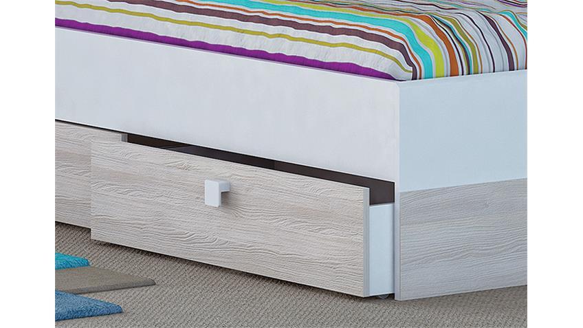 Bett-Kombi GAME inkl. Bettumbau Weiß und Akazie 90x190 cm