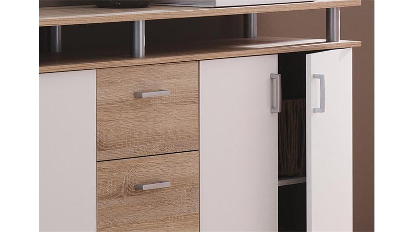 Sideboard SWIFT Sonoma Eiche und weiß 4-türig