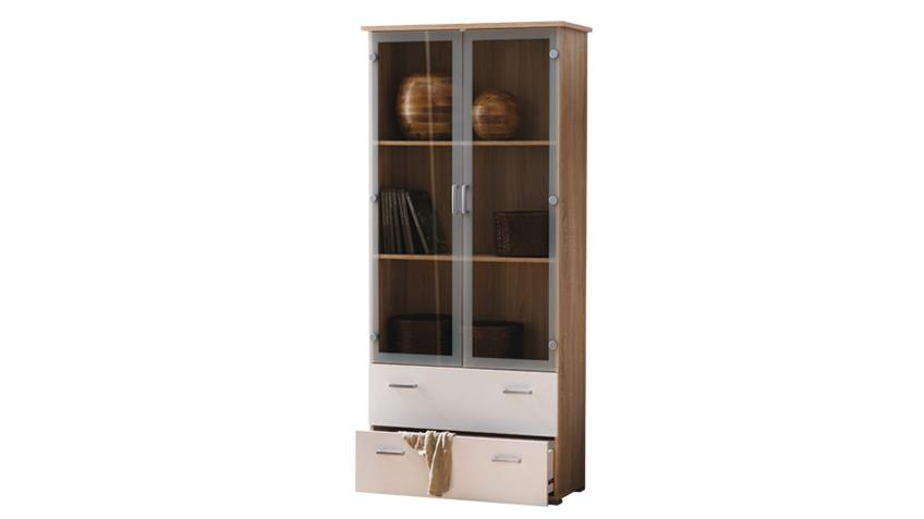 vitrine swift schrank in sonoma eiche dekor wei 2 glast ren. Black Bedroom Furniture Sets. Home Design Ideas