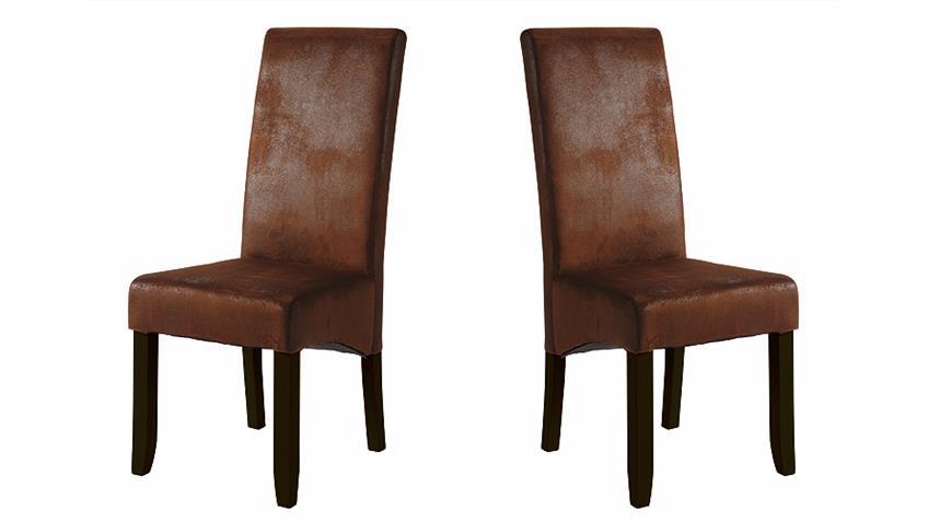 Stuhl SAGUA 2er Set Polsterstuhl Bezug in Vintage braun