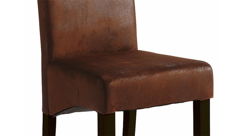 Stuhl SAGUA 4er Set Polsterstuhl Bezug in Vintage braun