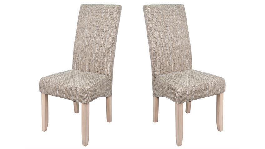 Stuhl SAGUA 2er Set in Strukturstoff beige