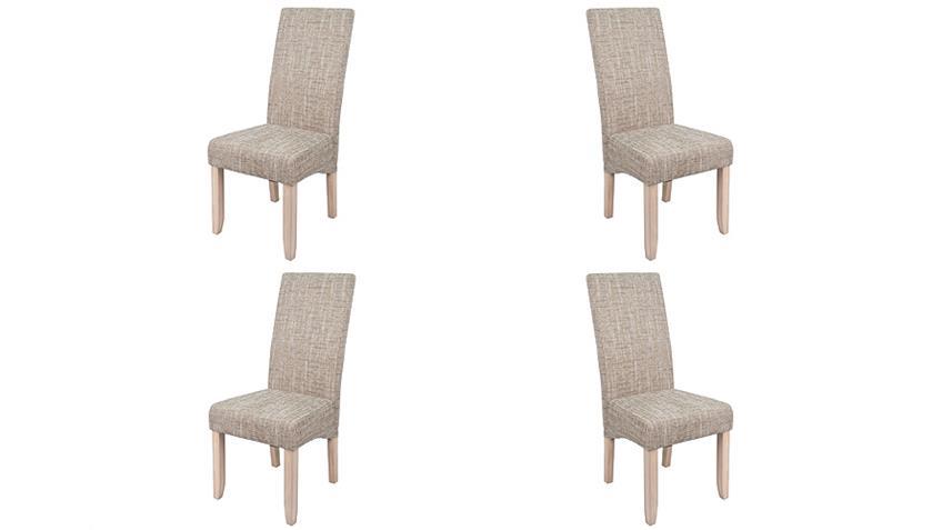 Stuhl SAGUA 4er Set in Strukturstoff beige