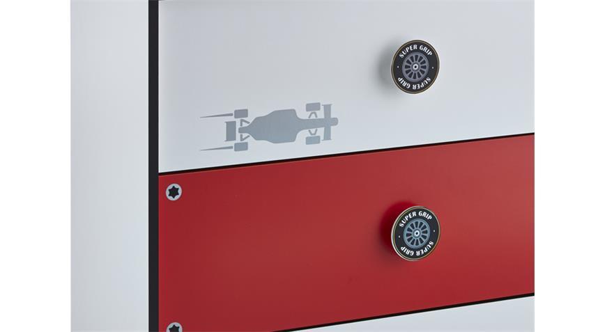Kommode Kinderzimmer ROCKET Formel 1 Design 3 Schubkästen