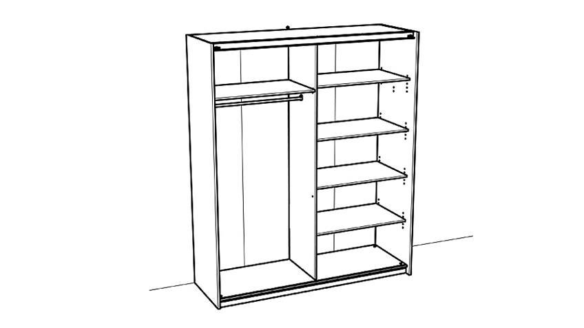 Schwebetürenschrank SLIDY Schrank in weiß mit Spiegel 169