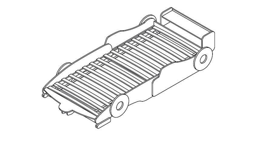 Autobett WOODY Kinderbett Bett hellblau schwarz weiß 90x200