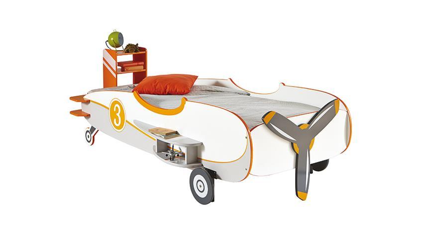 Flugzeugbett LOOPING Kindertbett weiß orange grau 90x200