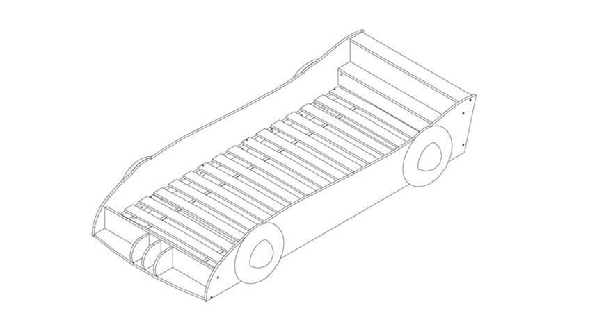Autobett BOLID Kinderbett Bett rot schwarz weiß 90x200