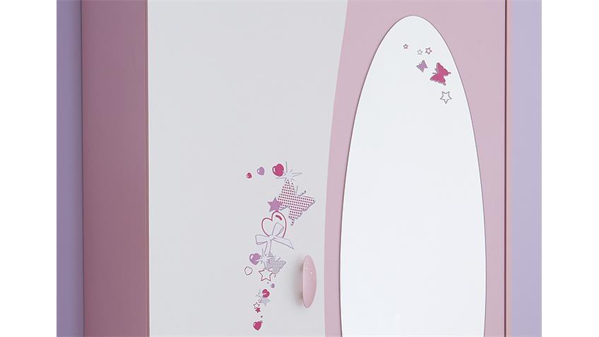 Kleiderschrank PAPILLON Schrank orchidee rosa weiß Spiegel