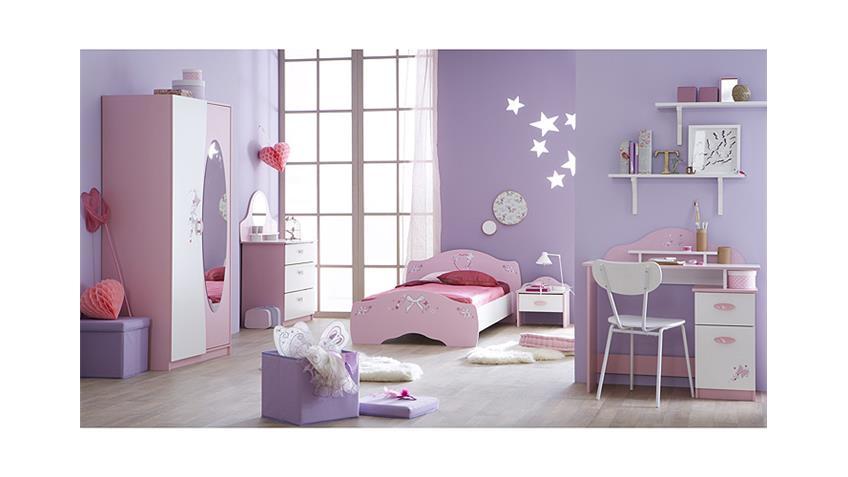 Nachttisch PAPILLON Nachtkommode in orchidee rosa und weiß