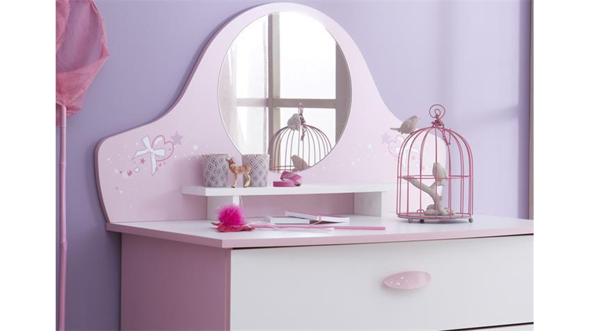 Kommode PAPILLON Sideboard orchidee rosa weiß mit Spiegel