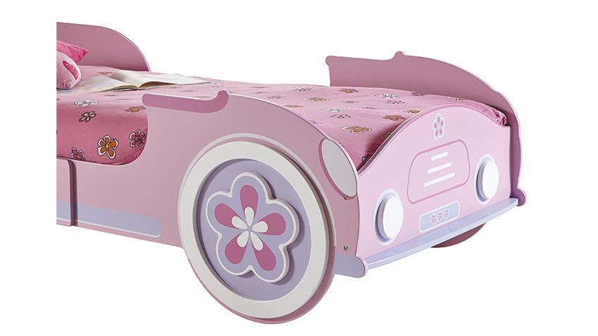 Autobett LADY CAR Mädchenbett Kinderbett in rosa weiß 90x200