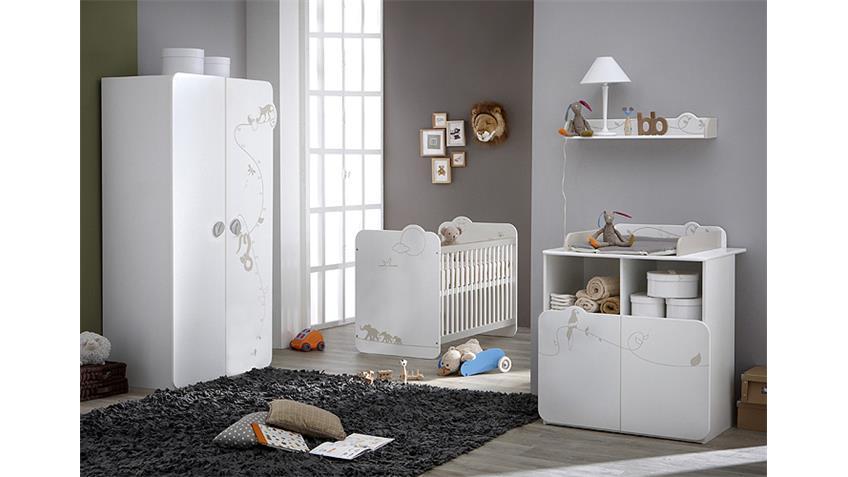 Kleiderschrank JUNGLE Schrank in weiß mit Dschungelmotiv