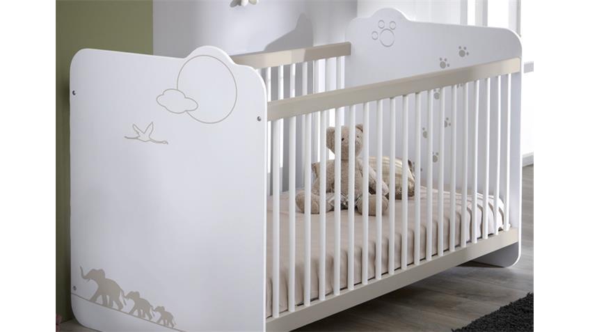 Babybett JUNGLE Kinderbett Bett in weiß mit Dschungelmotiv