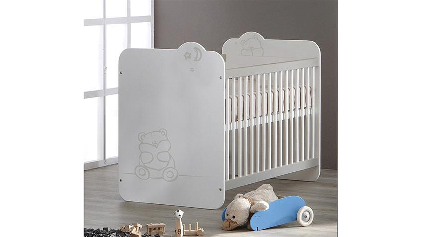 Babybett TEDDY Kinderbett Bett in weiß mit Teddymotiv