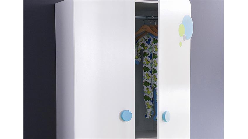 Kleiderschrank BULLES Schrank in weiß blau und grün