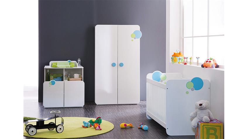 Babybett BULLES Kinderbett Sprossenbett in weiß blau grün