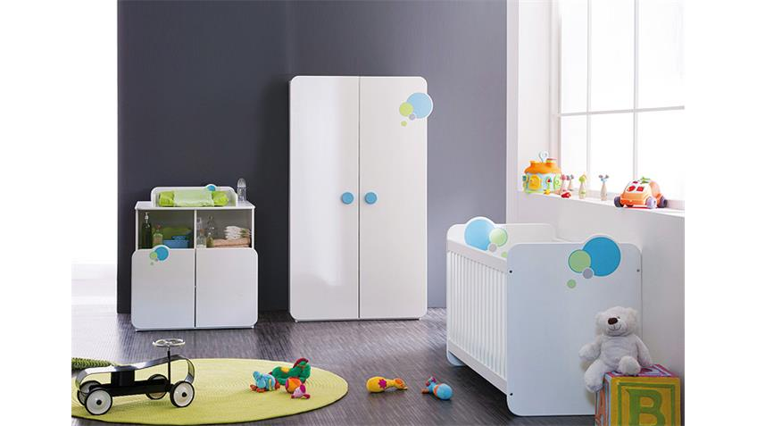 babyzimmerset bulles kinderzimmer wei blau gr n mit motiv. Black Bedroom Furniture Sets. Home Design Ideas