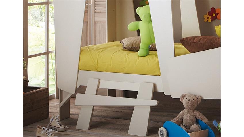 Hochbett CABANE Kinderbett taupe beige inkl. Leiter Rollrost