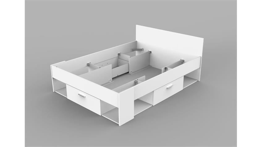 Bett CHICAGO Jugendzimmerbett in weiß mit Stauraum