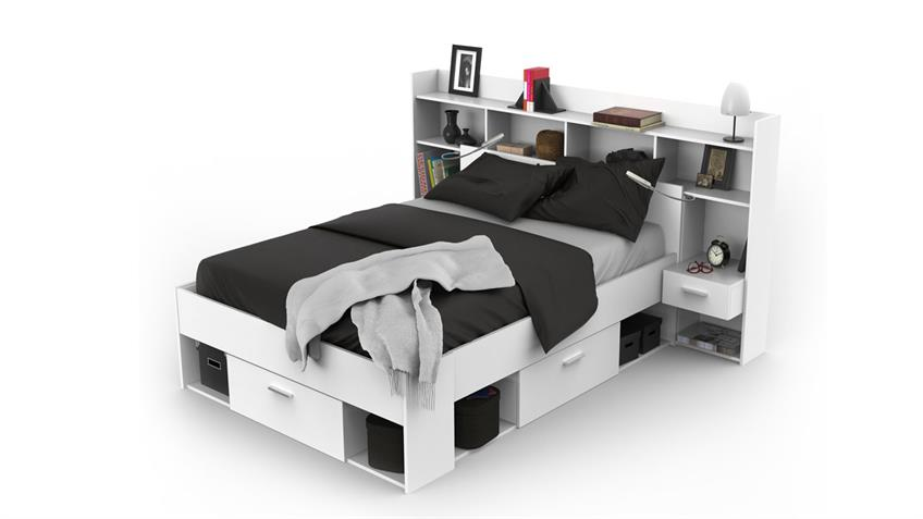bett chicago mit umbau in wei inklusive beleuchtung. Black Bedroom Furniture Sets. Home Design Ideas