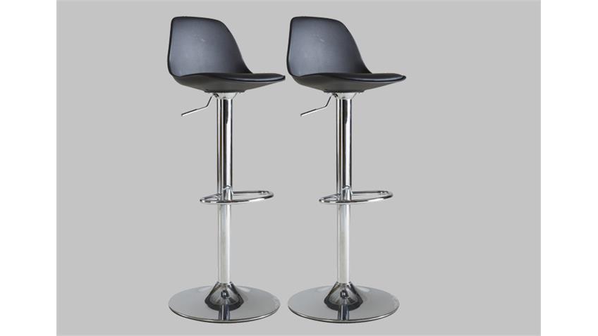 Barhocker 2er Set COCKTAIL Hocker Stuhl in schwarz und chrom