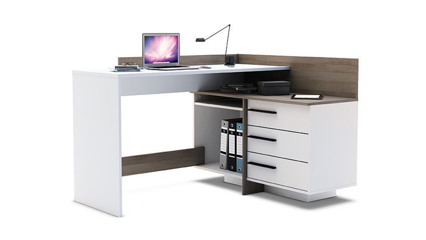 Ecktischreibtisch THALES Schreibtisch perl weiß Eiche dunkel