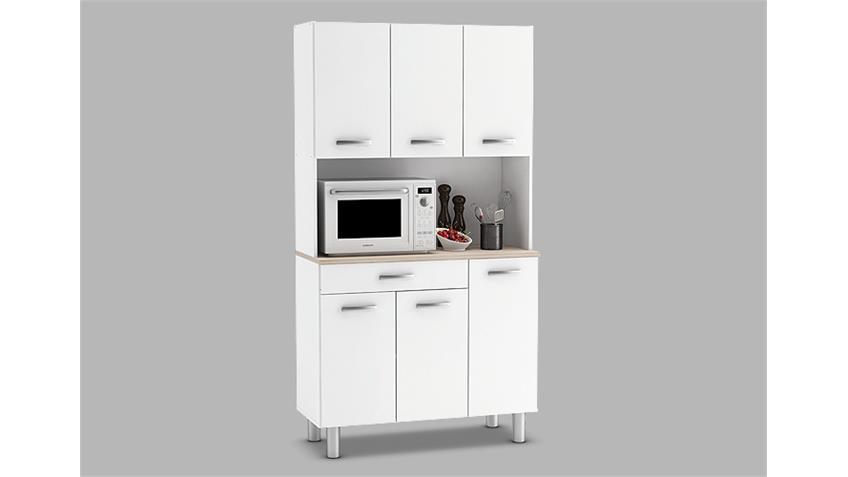 Küchenbuffet PASTA Buffet Küchenschrank in weiß und Akazie