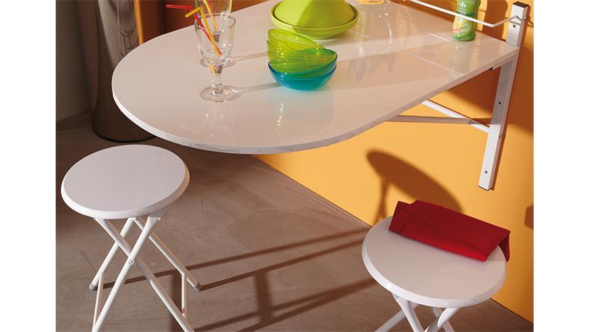 Wandtisch SINAI Esstisch Tisch mit 2 Hockern klappbar weiß Glanz