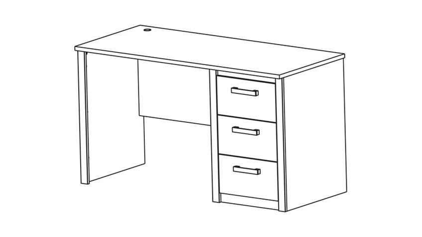 Schreibtisch SHERWOOD Computertisch PC-Tisch in Prata Eiche