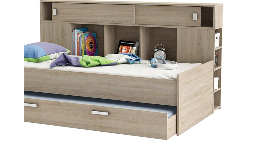 Bett SHERWOOD Kinderbett Sonoma Eiche mit Bettkasten Regal