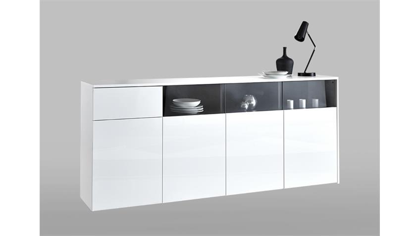 Sideboard MALIA Kommode Anrichte Schrank in glänzend weiß