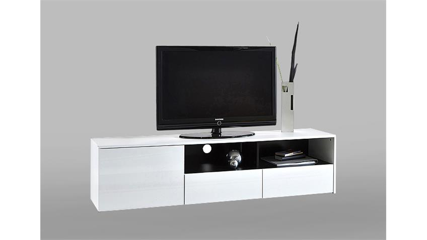 TV-Board MALIA TV-Bank Unterschrank Lowboard glänzend weiß