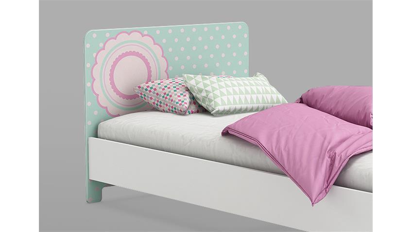 Bett SUZETTE Kinderbett in weiß grün und rosa 90x200 cm