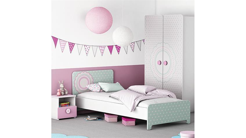 Nachttisch SUZETTE Nachtkommode Nako in weiß und rosa