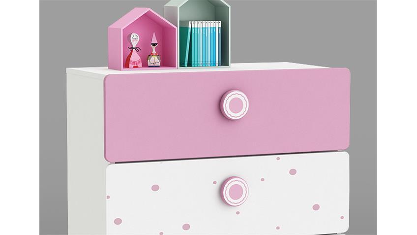 Kommode SUZETTE Sideboard Anrichte in weiß grün und rosa