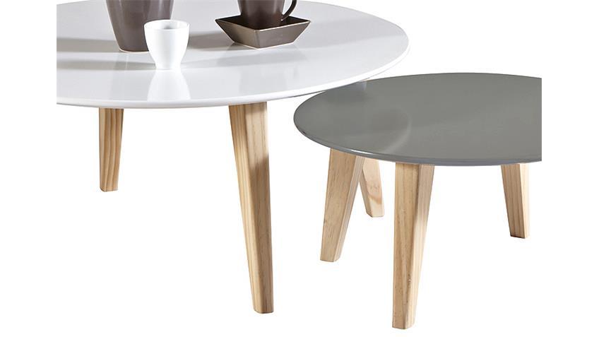 Couchtisch Set ROUND X2 Wohnzimmertisch Tisch weiß grau