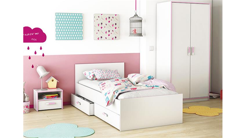 Bett SWITCH Kinderbett in weiß rosa oder blau 90x190 cm